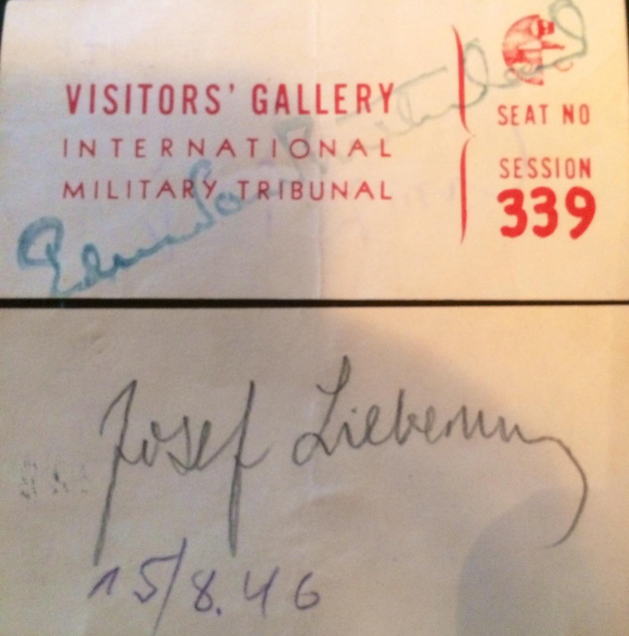 Ticket to Nuremberg Trials August 15, 1946, Session 339